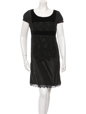 Christian Lacroix Lace-Trimmed Silk Dress None