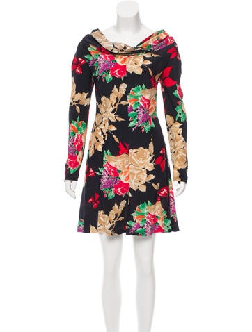 Christian Lacroix Silk Cowl Neck Dress None