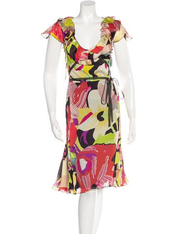 Christian Lacroix Silk Floral Print Dress None