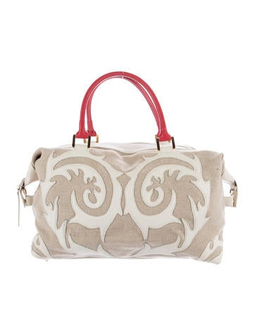 Christian Lacroix Embellished Leather-Trimmed Satchel None