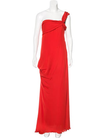Christian Lacroix One-Shoulder Silk Dress None