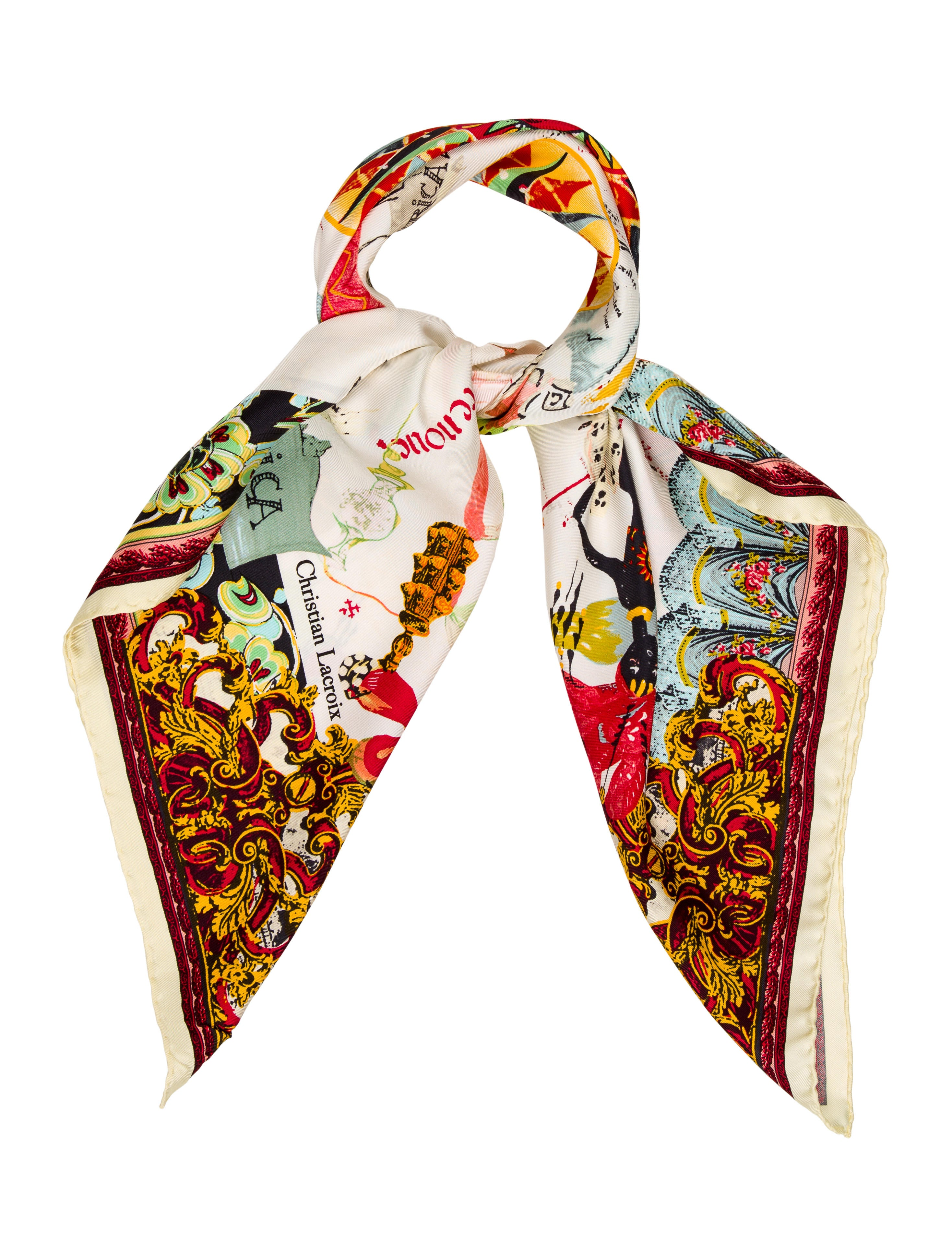 christian lacroix printed silk scarf accessories