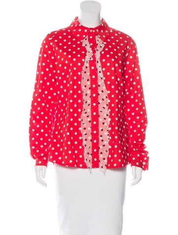 Christian Lacroix Silk-Trimmed Button-Up Top None