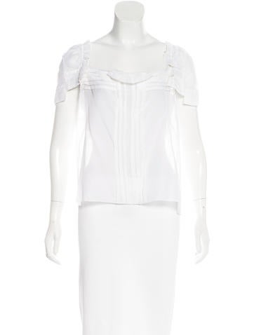 Christian Lacroix Pleated Short Sleeve Top None