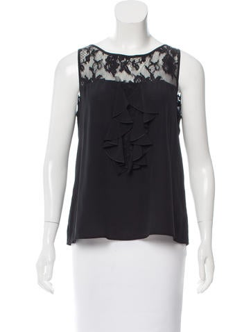 Christian Lacroix Lace-Trimmed Silk Top None