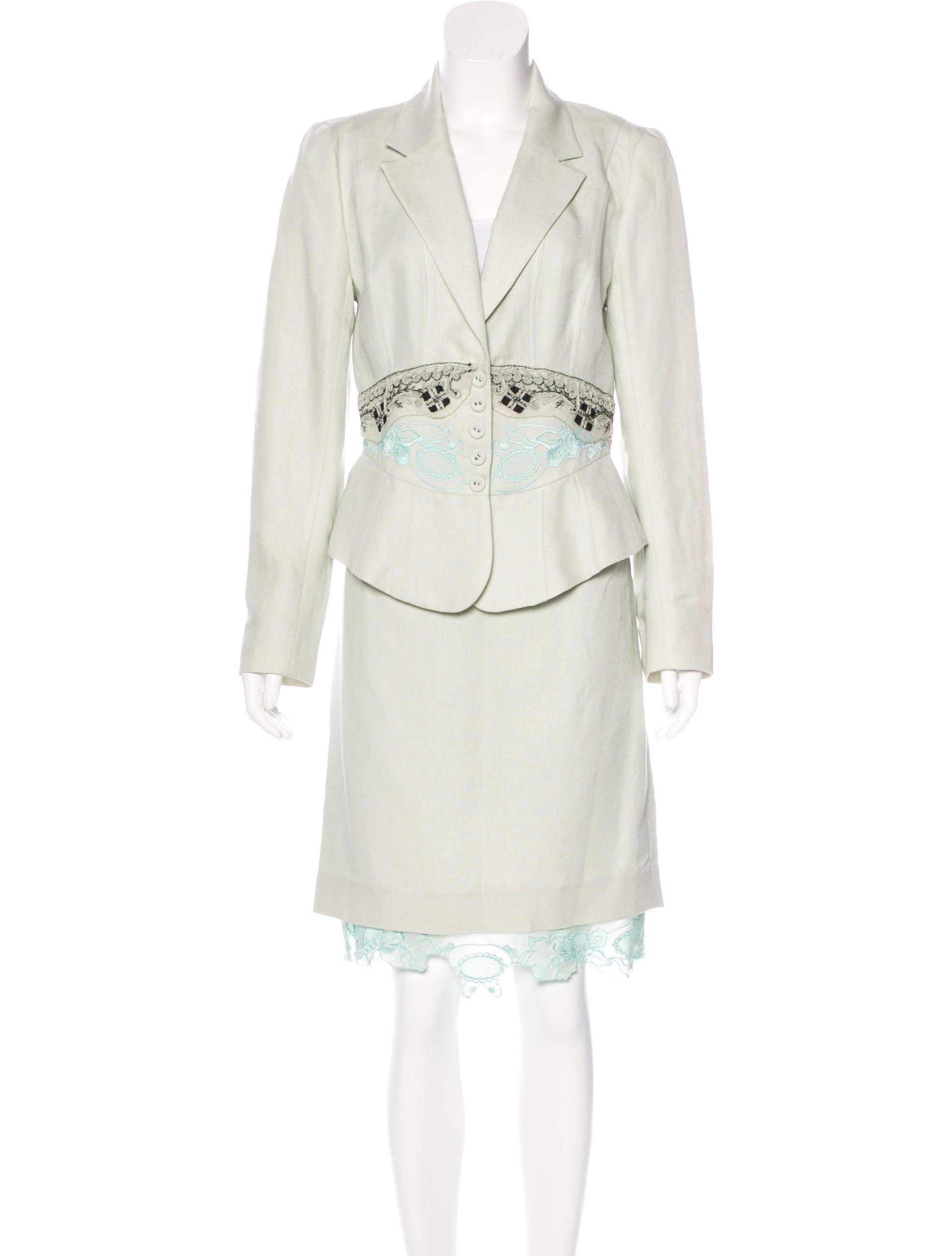 Christian Lacroix Silk Amp Linen Blend Skirt Suit Clothing