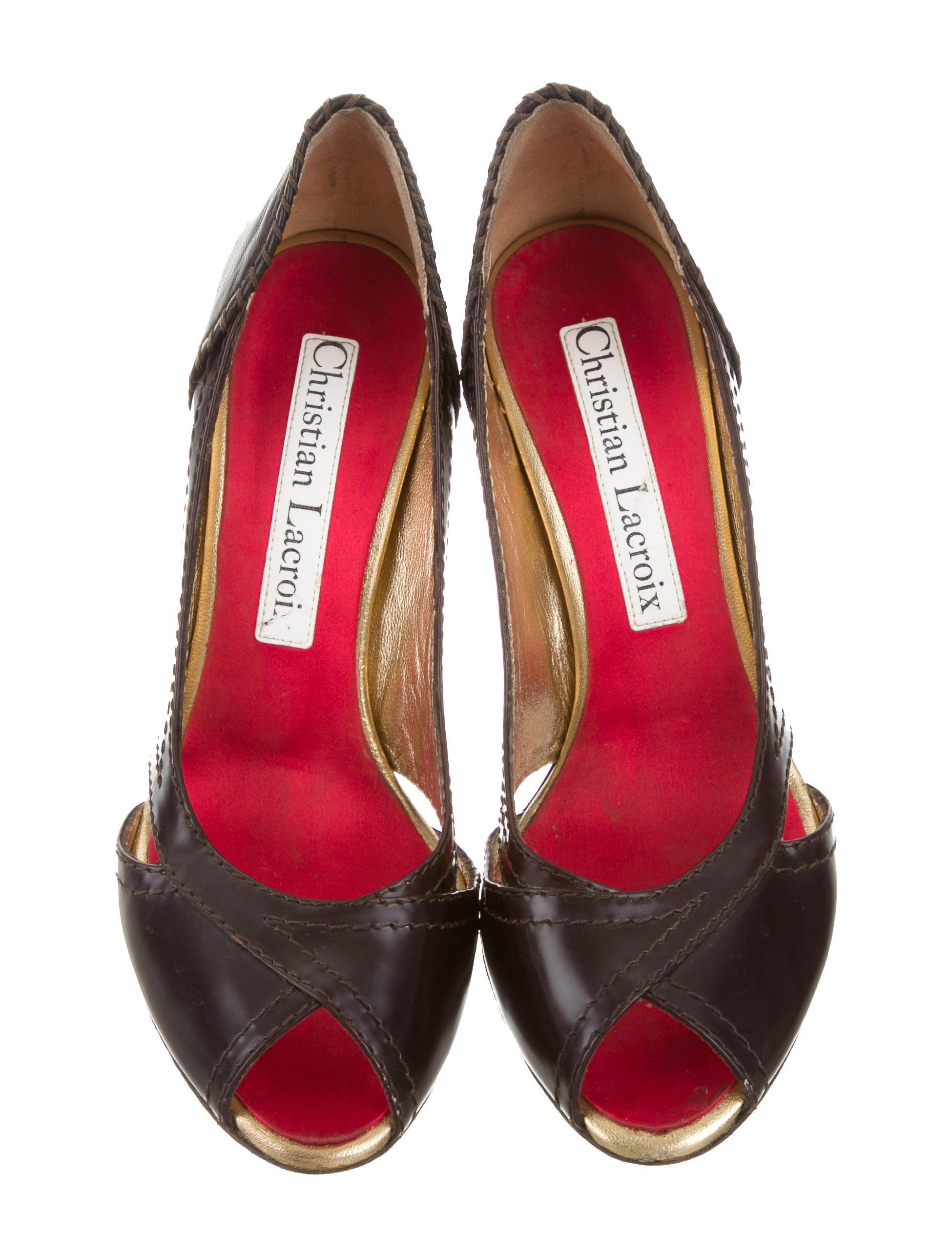 Christian Lacroix Leather Peep Toe Pumps Shoes