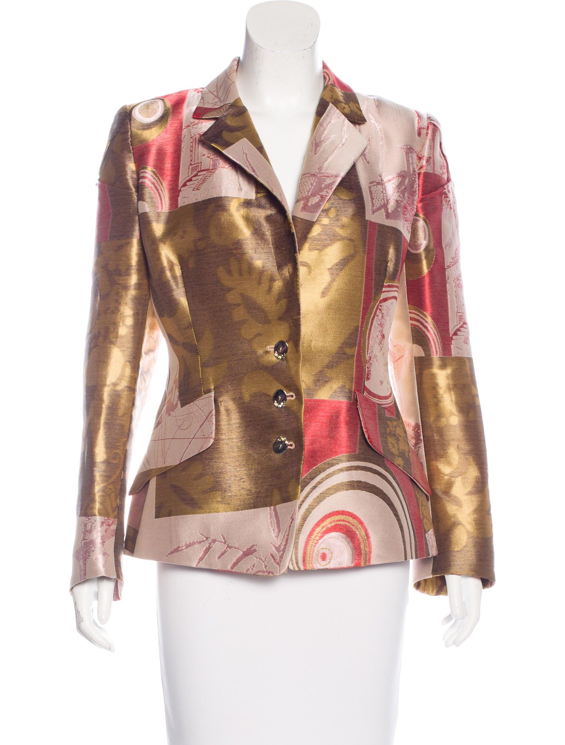 Christian Lacroix Brocade Notch Lapel Blazer Clothing