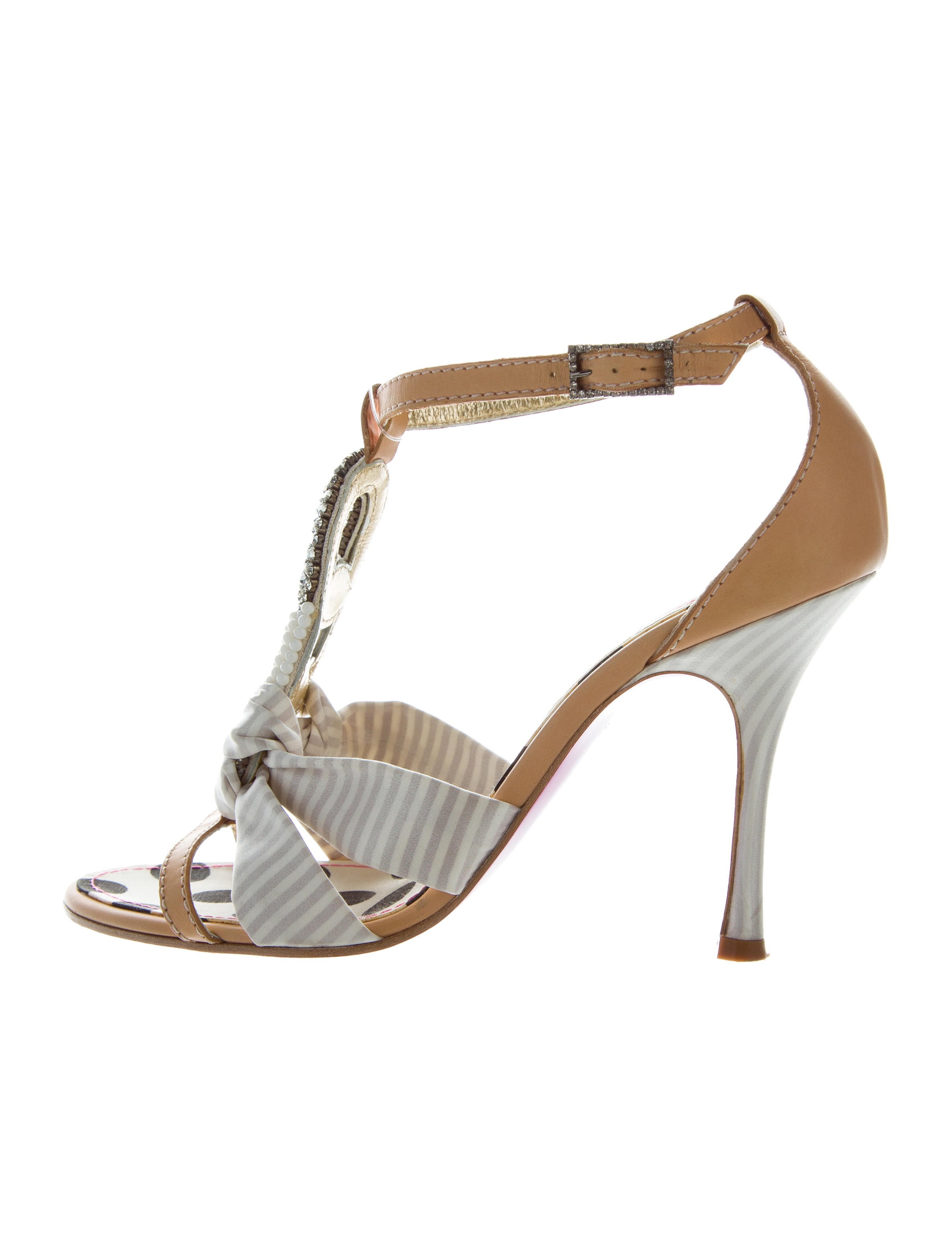 Christian Lacroix Embellished Satin Sandals Shoes