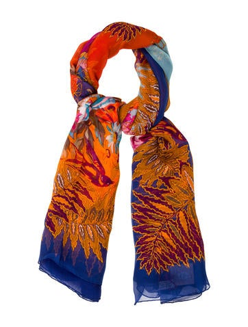 Christian Lacroix Floral Printed Silk Scarf None