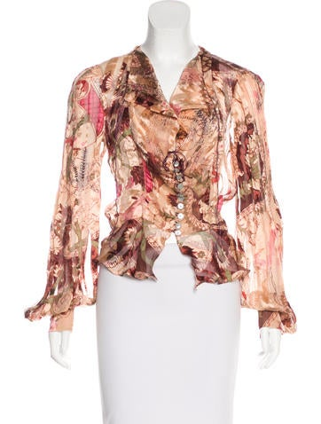 Christian Lacroix Semi-Sheer Silk Top None
