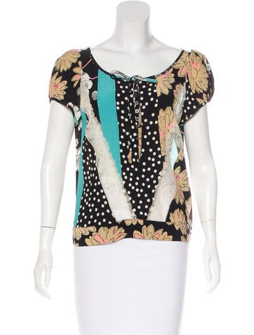 Christian Lacroix Silk Printed Top None