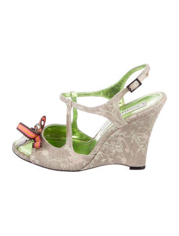 Christian Lacroix Embroidered Wedge Sandals None