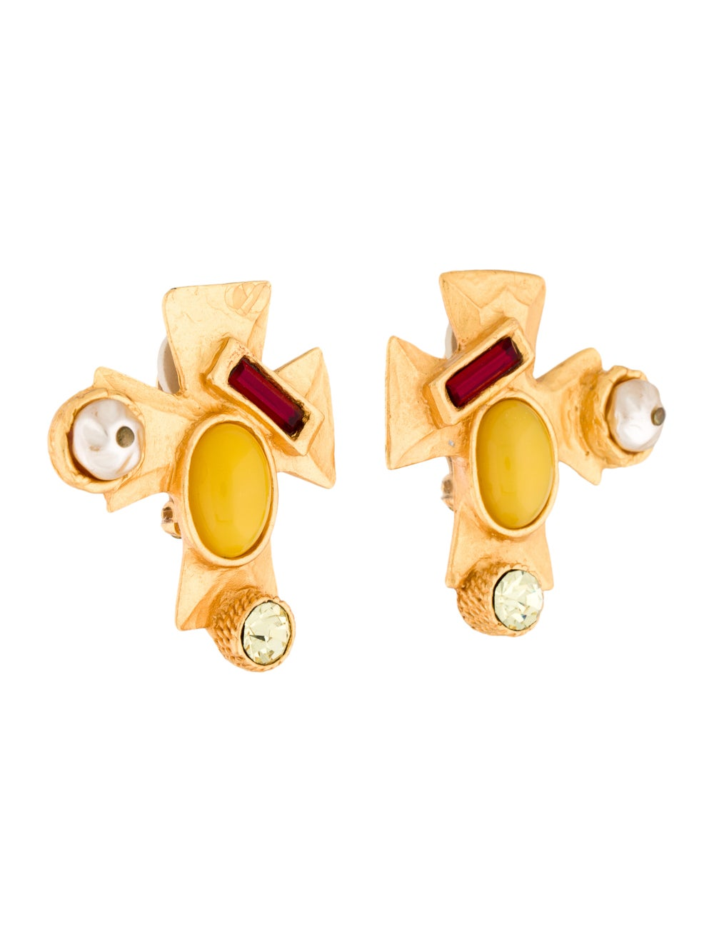 Christian Lacroix Resin, Crystal & Faux Pearl Cro… - image 3