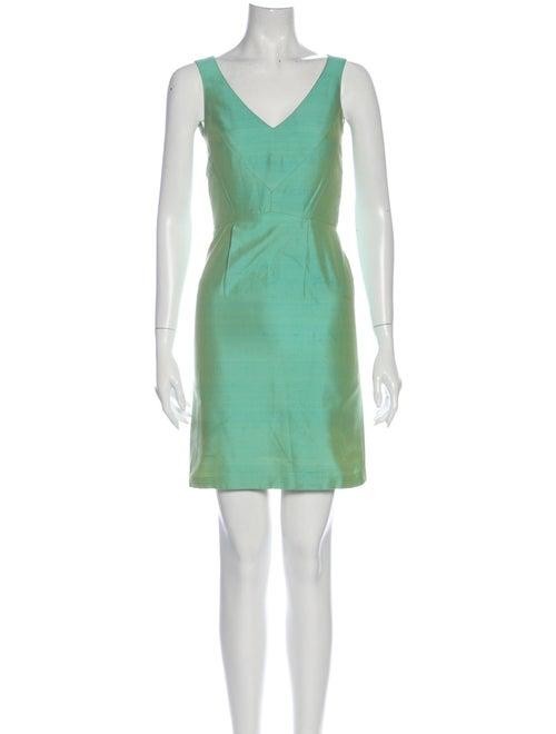 Christian Lacroix V-Neck Mini Dress Green