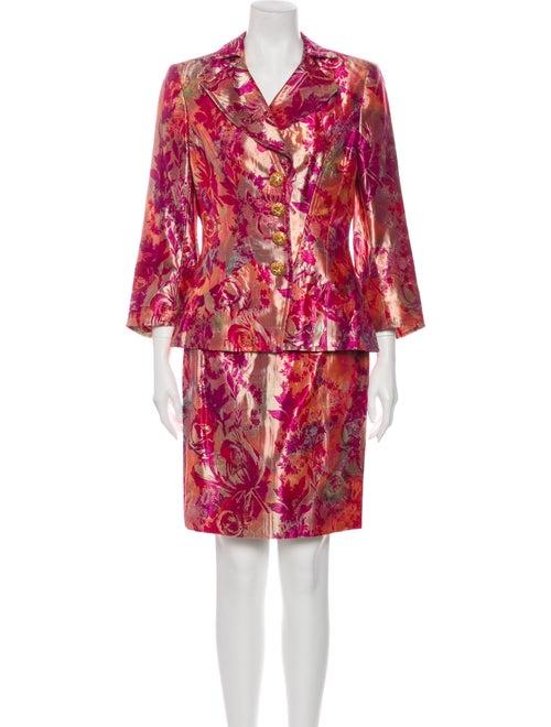 Christian Lacroix Floral Print Skirt Suit Metallic