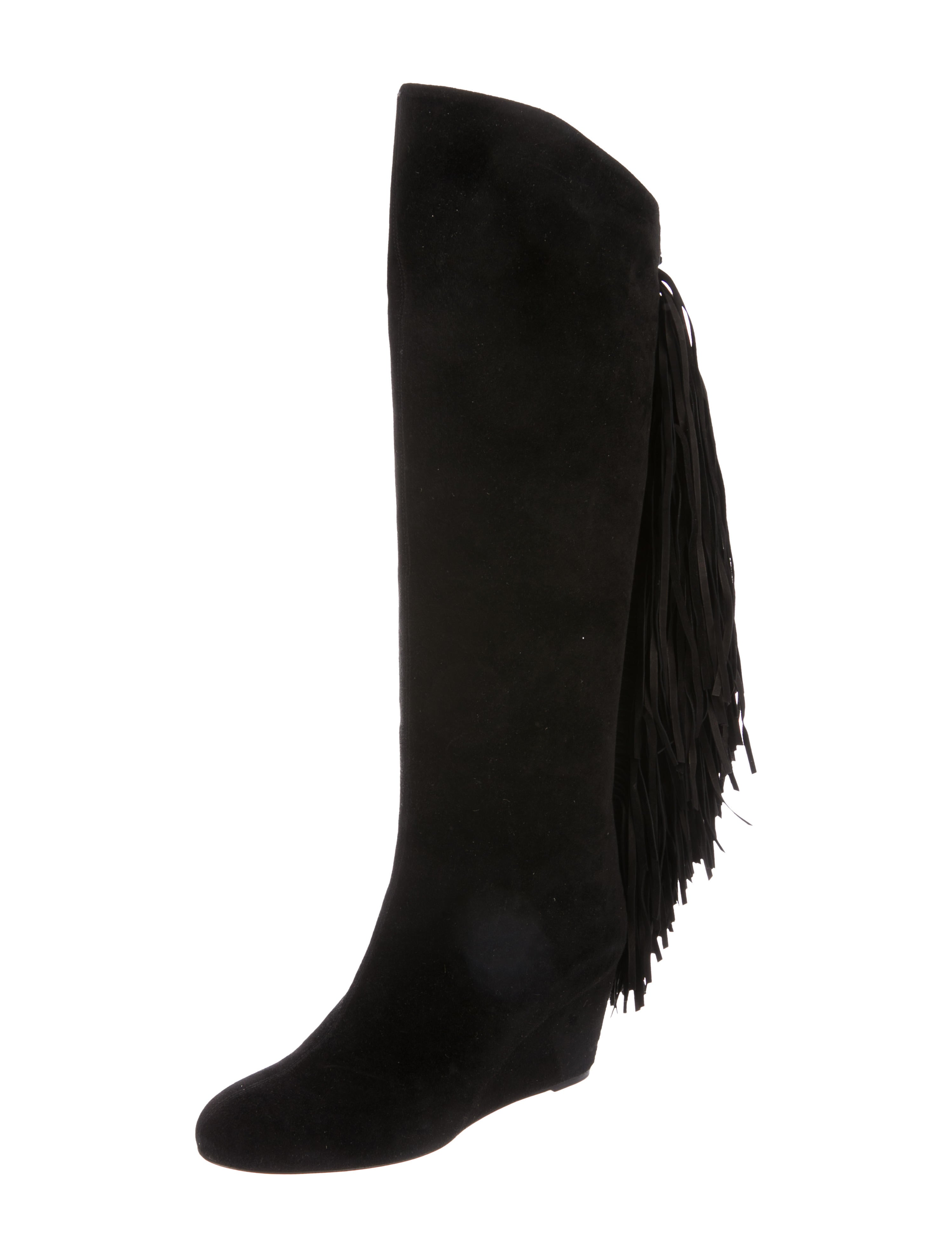 separation shoes 392bb 005be Christian Louboutin Suede Fringe Knee-Boots
