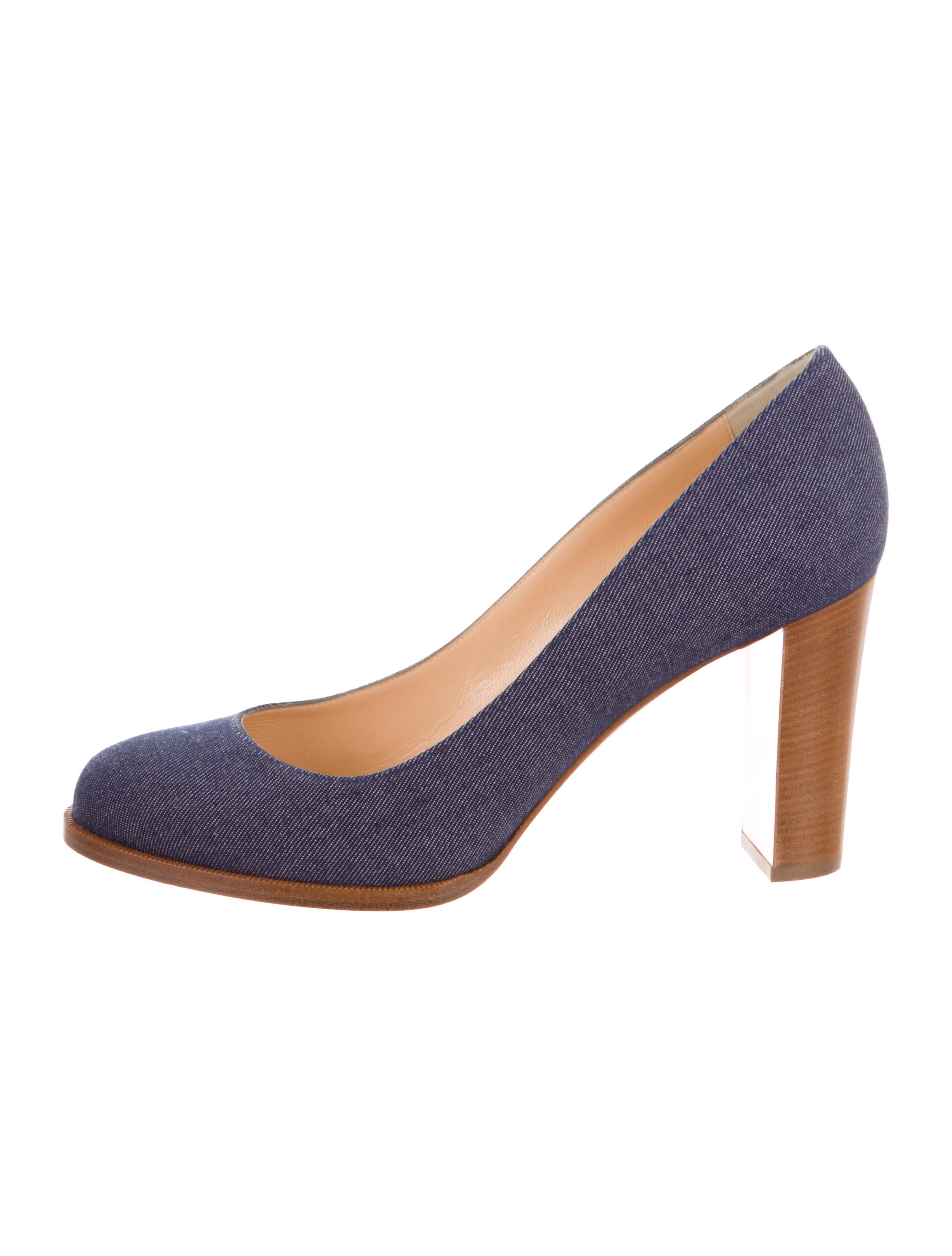 huge discount a6836 0e282 Semi Round-Toe Denim Pumps