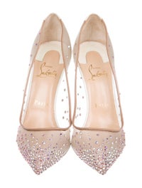 san francisco cc4b8 872ea Christian Louboutin Follies Strass 100 Pointed-Toe Pumps ...
