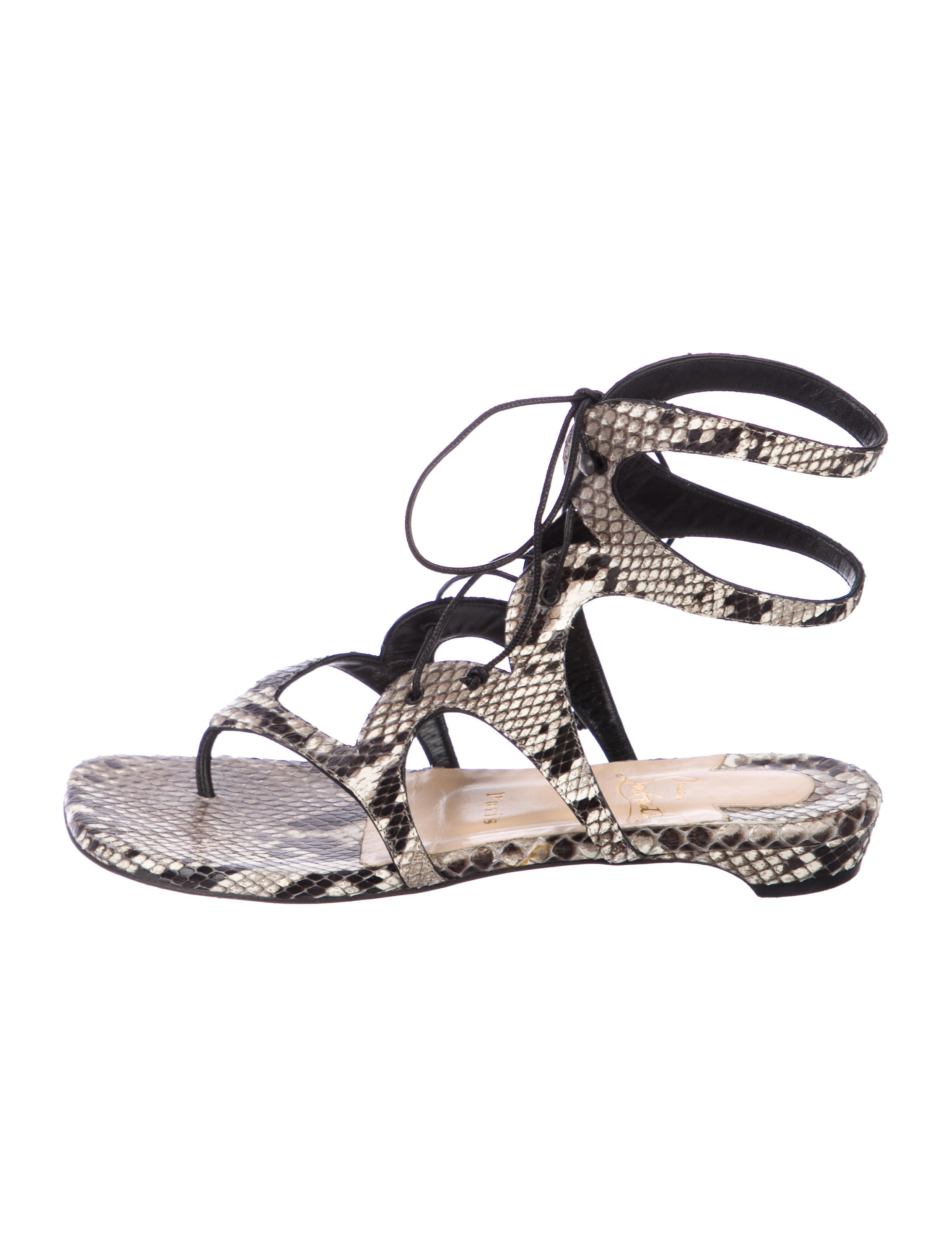 5a592db7b40 Christian Louboutin Snakeskin Thong Sandals - Shoes - CHT111764 ...