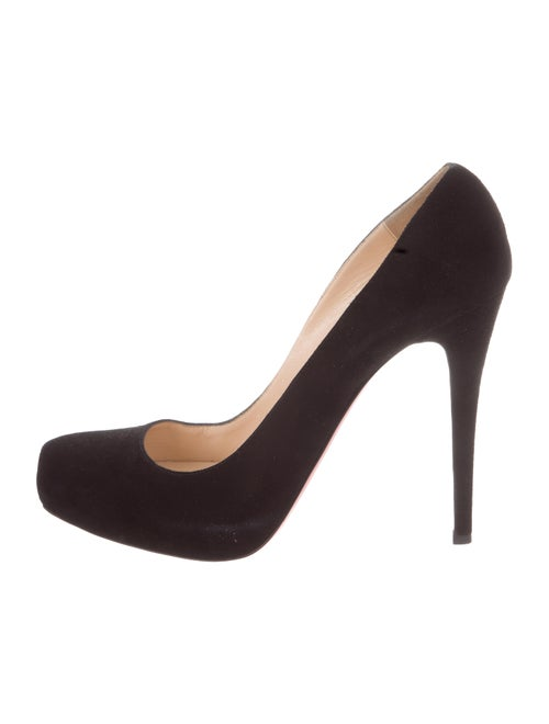 Christian Louboutin Suede Round-Toe Pumps - Shoes - CHT120676  c802bc7adc65