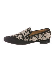 db7c9c094ad Christian Louboutin. Embroidered Smoking Slippers. Size  US 7