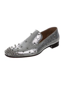 0477f8cecb60d2 Christian Louboutin. Embossed Leather Spikes Loafers. Size  ...