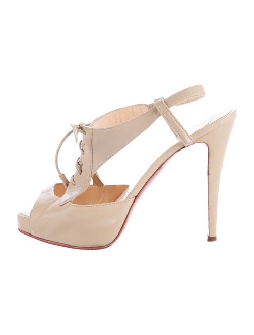 Christian Louboutin Leather Slingback Pumps Nude