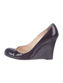 eab53f9b4d Christian Louboutin. Patent Leather Round-Toe Wedges