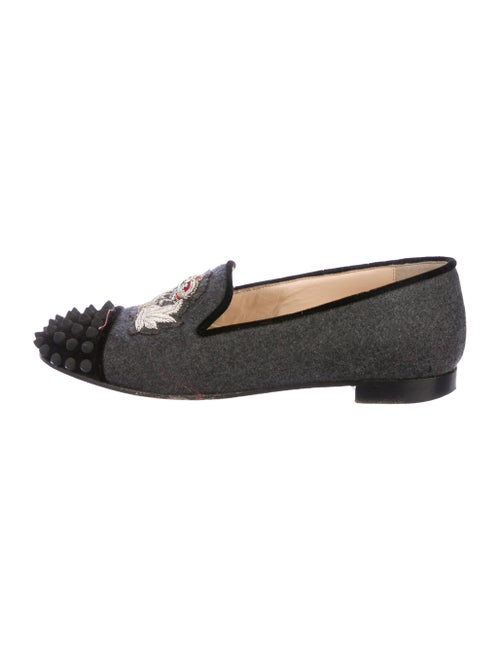 Christian Louboutin Embellished Wool Loafers wool