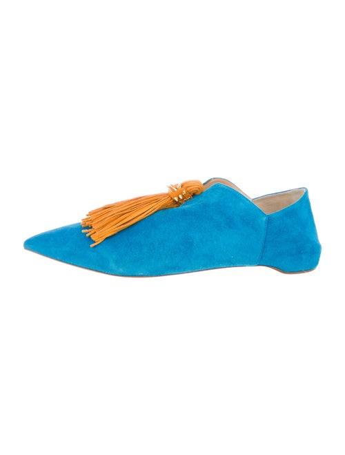 Christian Louboutin Spike Accents Suede Loafers Bl