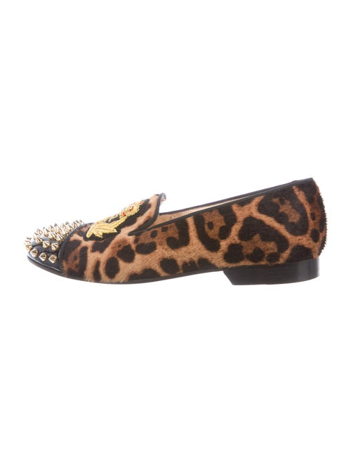 Christian Louboutin Spike Accents Ponyhair Loafers