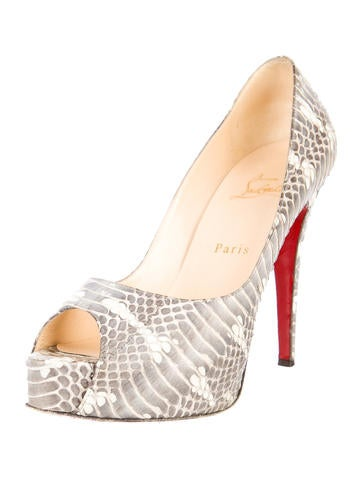 Hyper Prive Peep-Toe Python Pumps