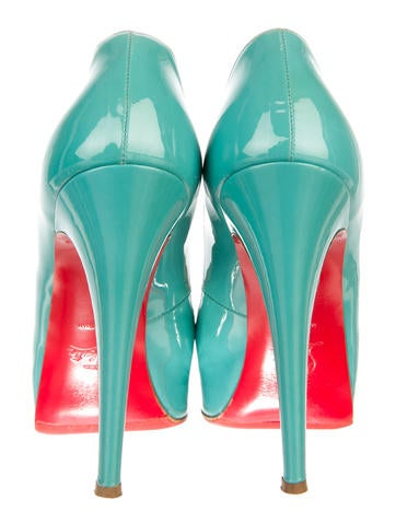 Patent Lady Peep Pumps