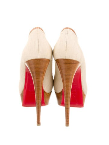 Canvas Peep-Toe Pumps