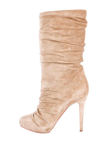 christian louboutin ruched suede boots shoes cht41441