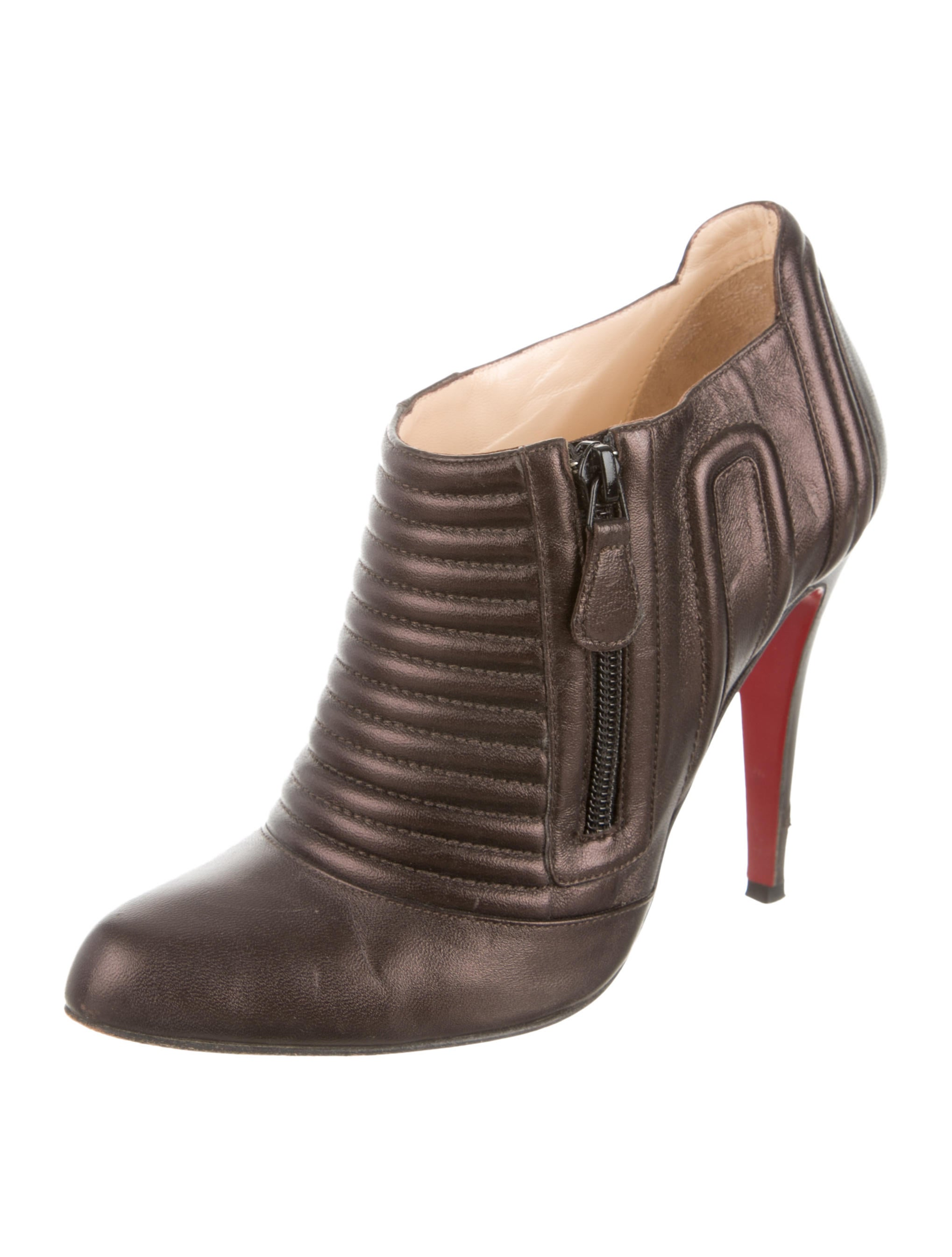 christian louboutin leather pointed toe ankle boots