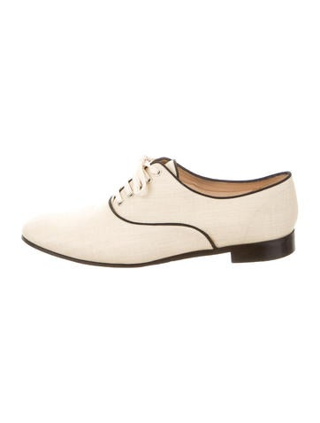 Straw Round-Toe Oxfords