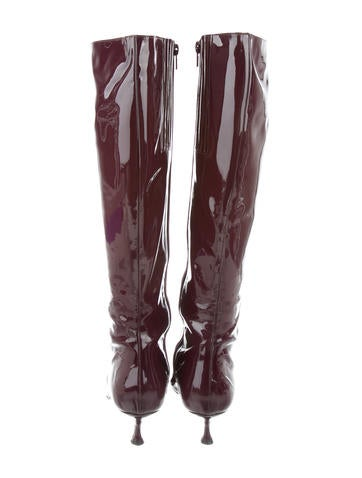 Patent Leather Pointed-Toe Boots