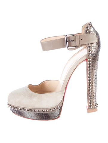 No. 299 Python-Trimmed Platform Sandals