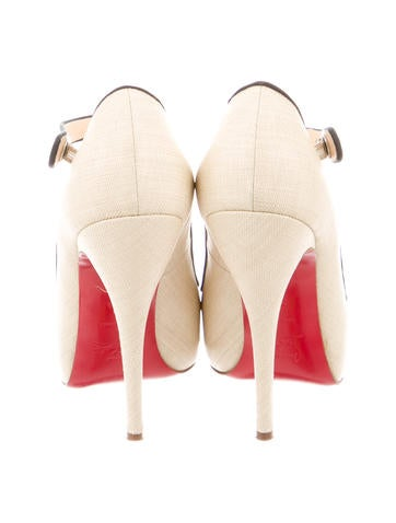 Raffia Peep-Toe Mary Jane Pumps