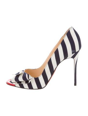 Striped Canvas Peep-Toe Pumps
