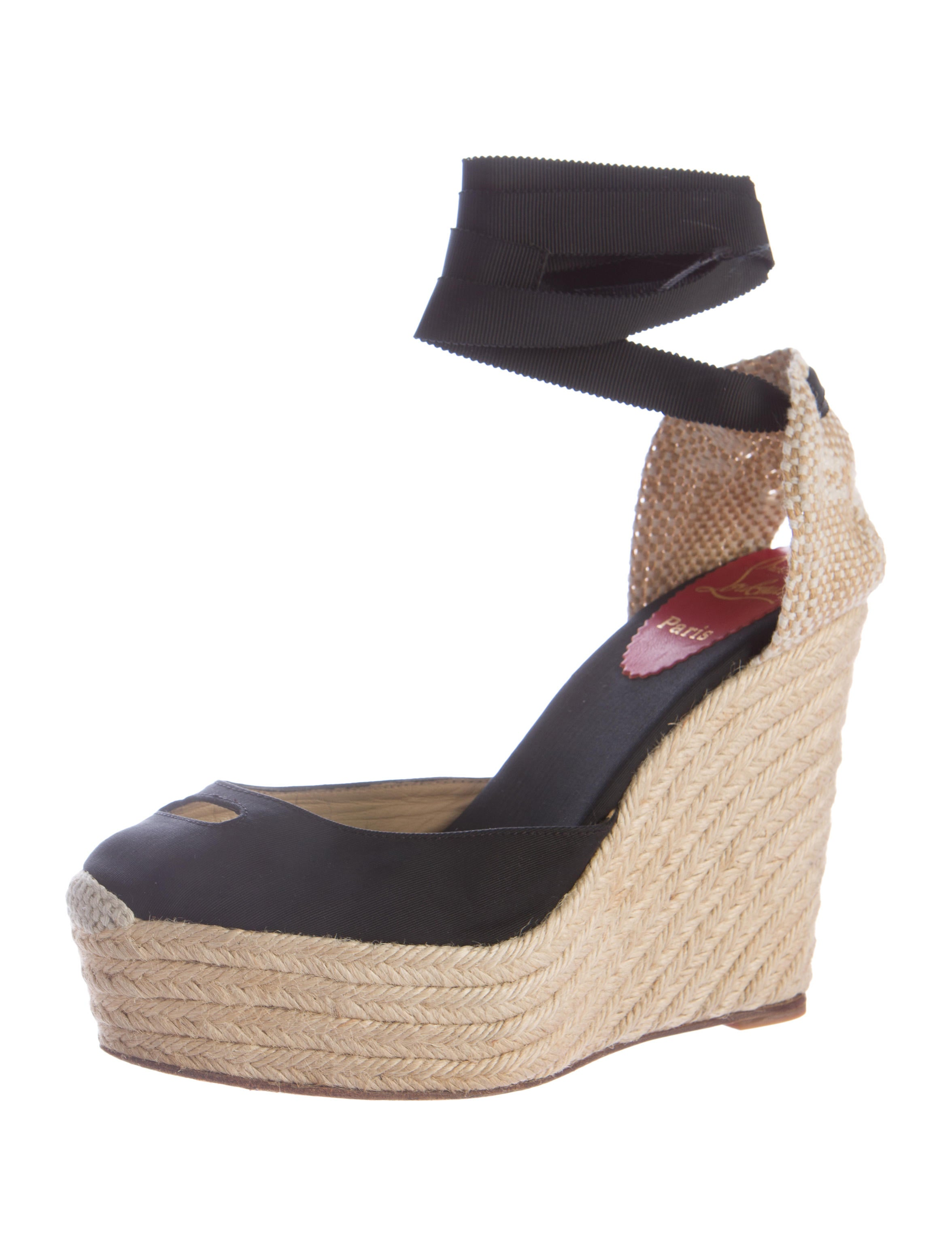christian louboutin tie up platform wedges shoes
