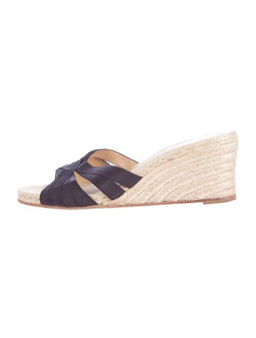 Christian Louboutin Grosgrain Espadrille Wedges None