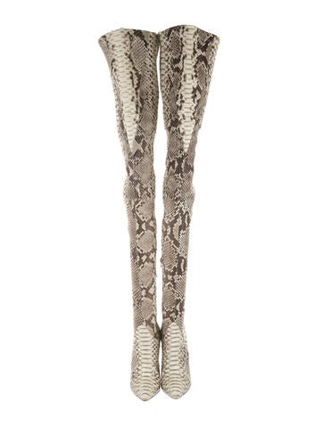 Pigalle Python Thigh-High Boots