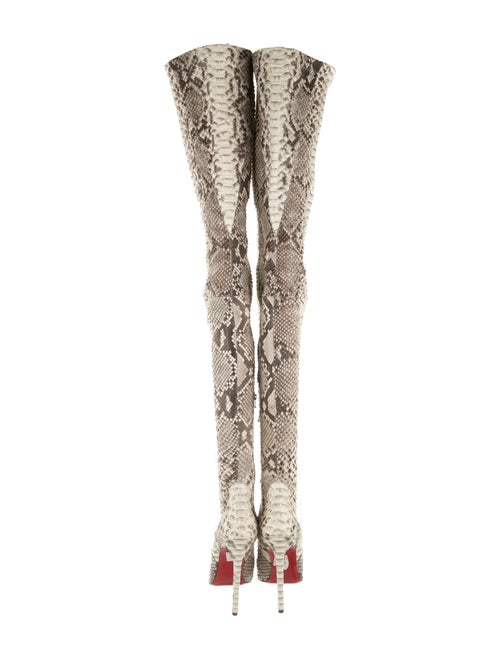 designer fashion c9ae7 f89ce Christian Louboutin Pigalle Python Thigh-High Boots - Shoes ...