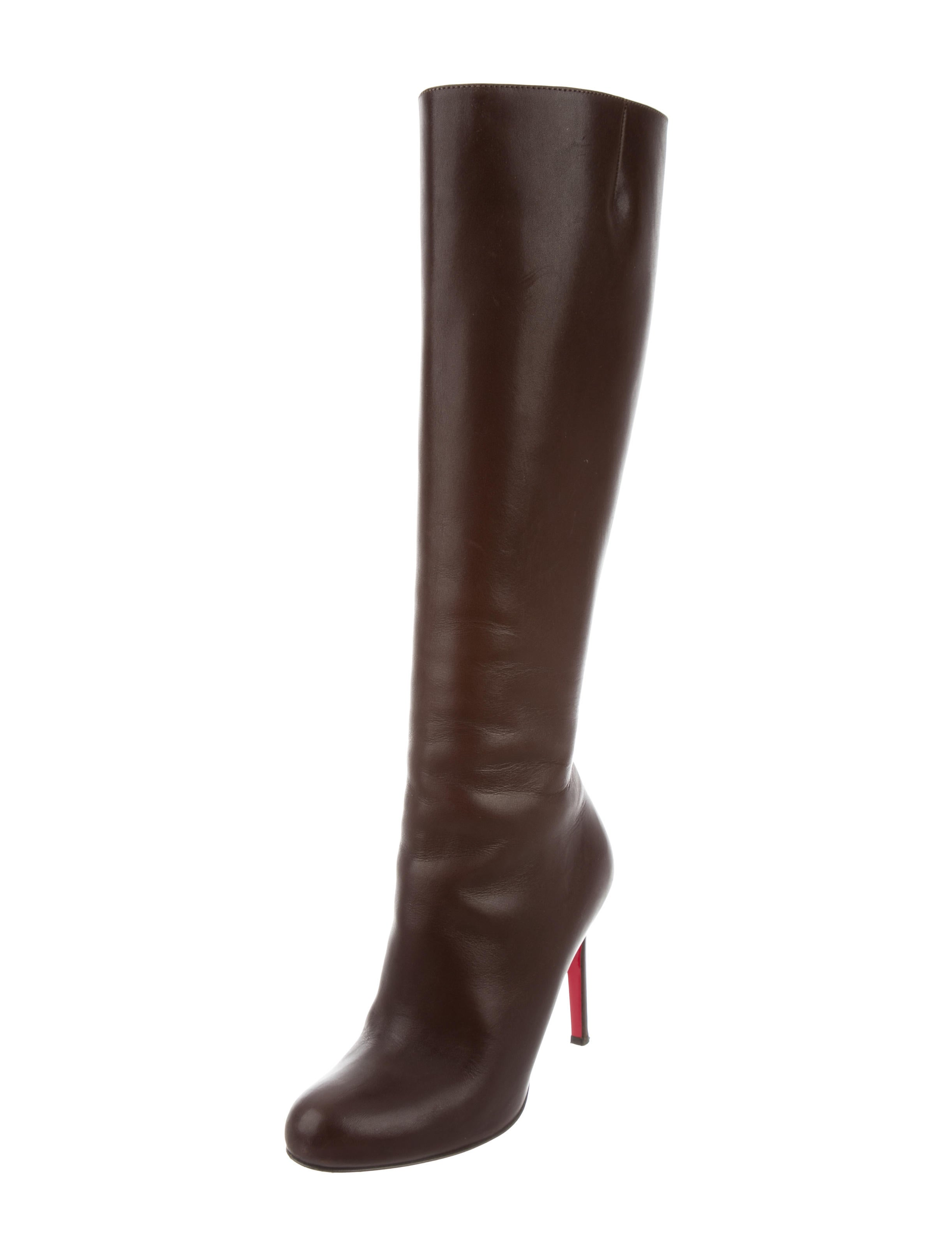 christian louboutin leather knee high boots shoes