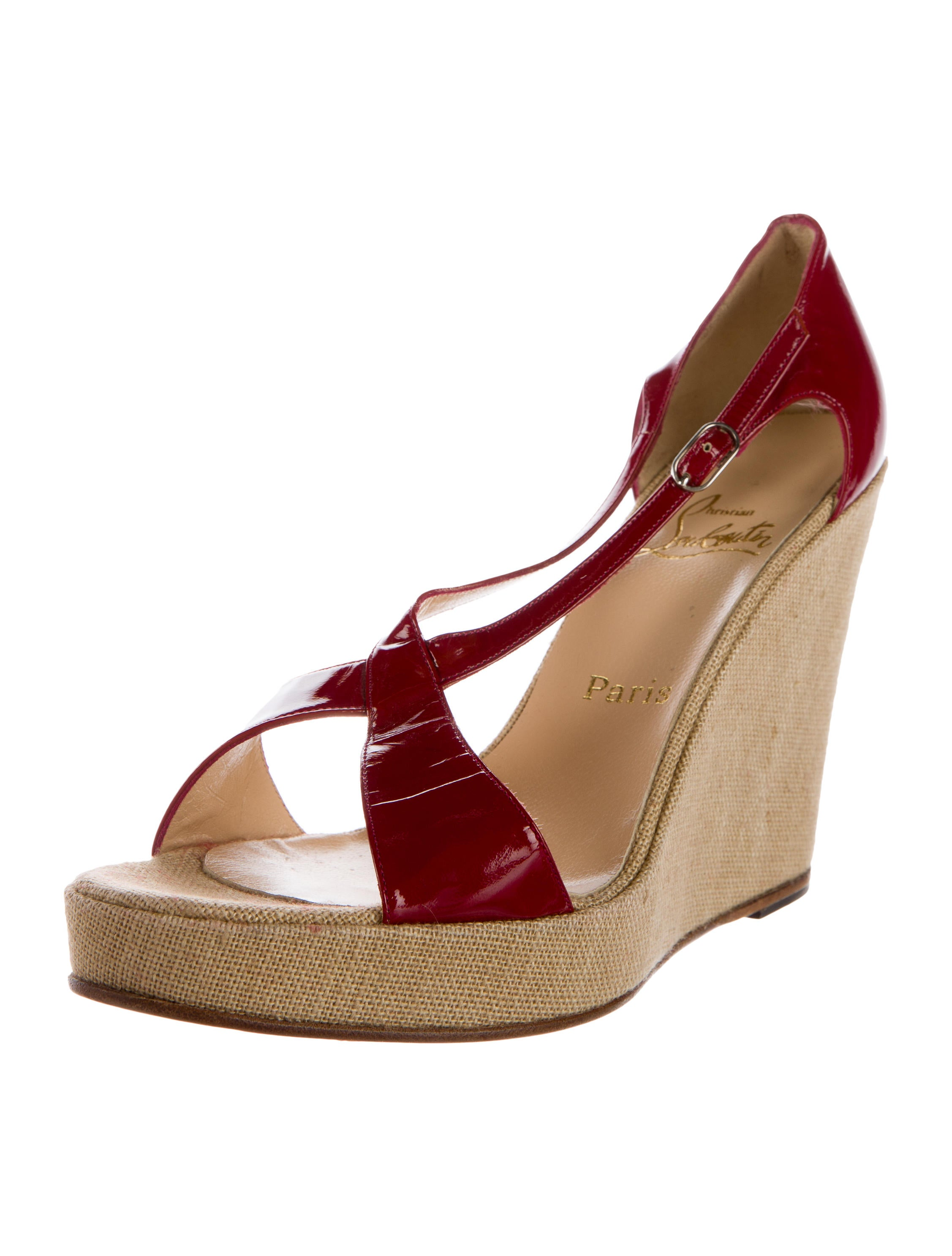 christian louboutin patent crossover wedge sandals shoes