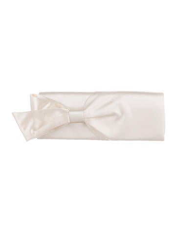 Christian Louboutin Satin Bow Clutch None