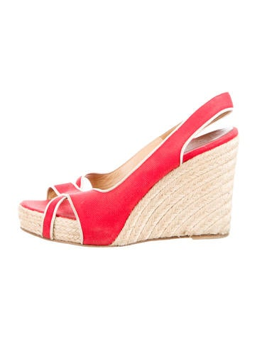 Christian Louboutin Espadrille Slingback Wedges None